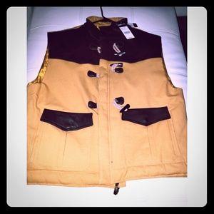 Pelle Pelle Jackets & Coats - NWT Men's Pelle Pelle Denim and Leather Vest